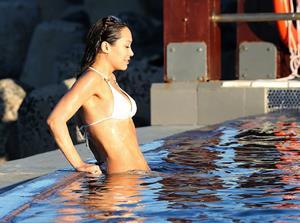 Myleene Klass in a white bikini in Cape Town