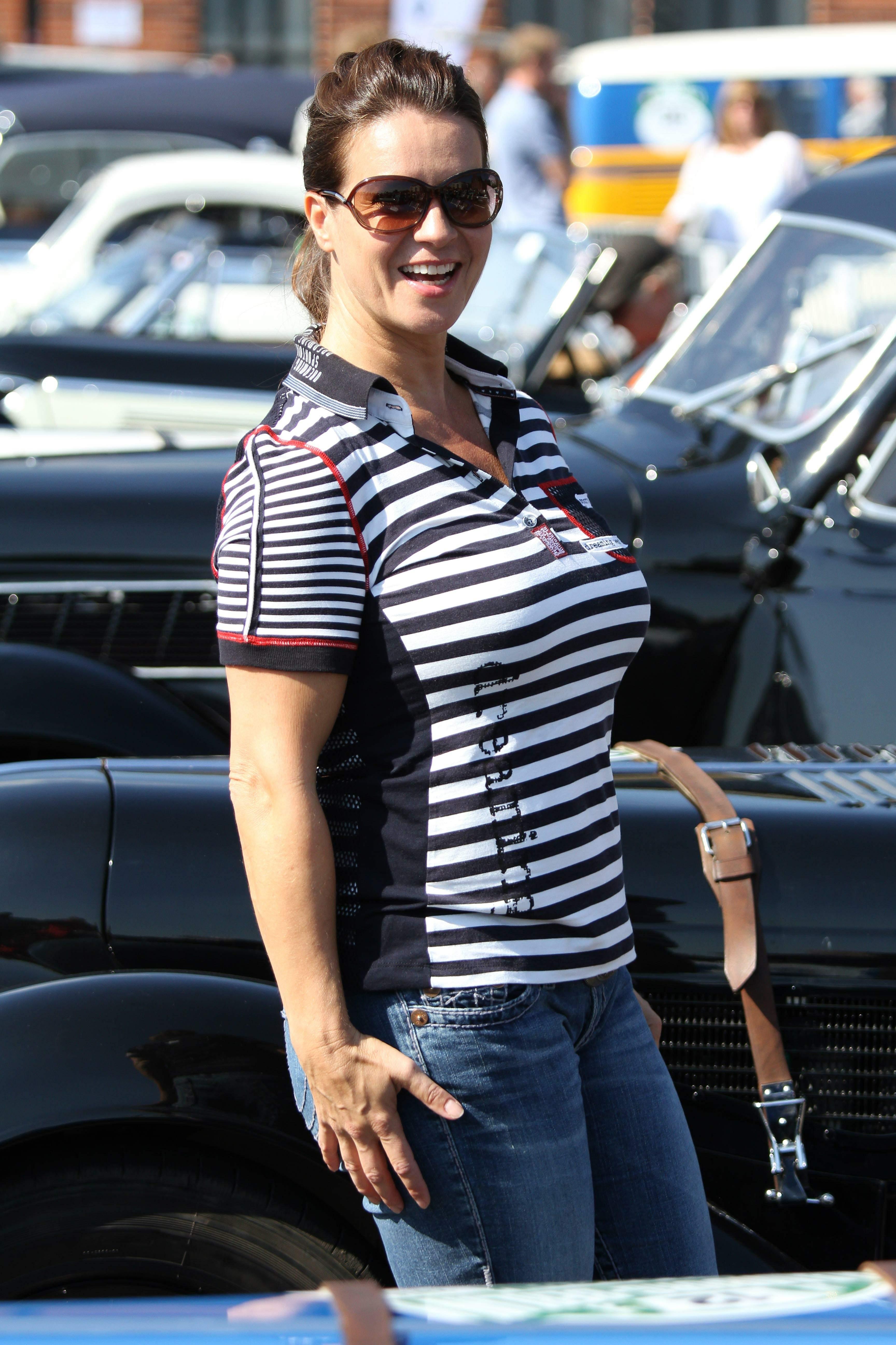 katarina witt at the oldtimer car rally hamburg berlin klassik august