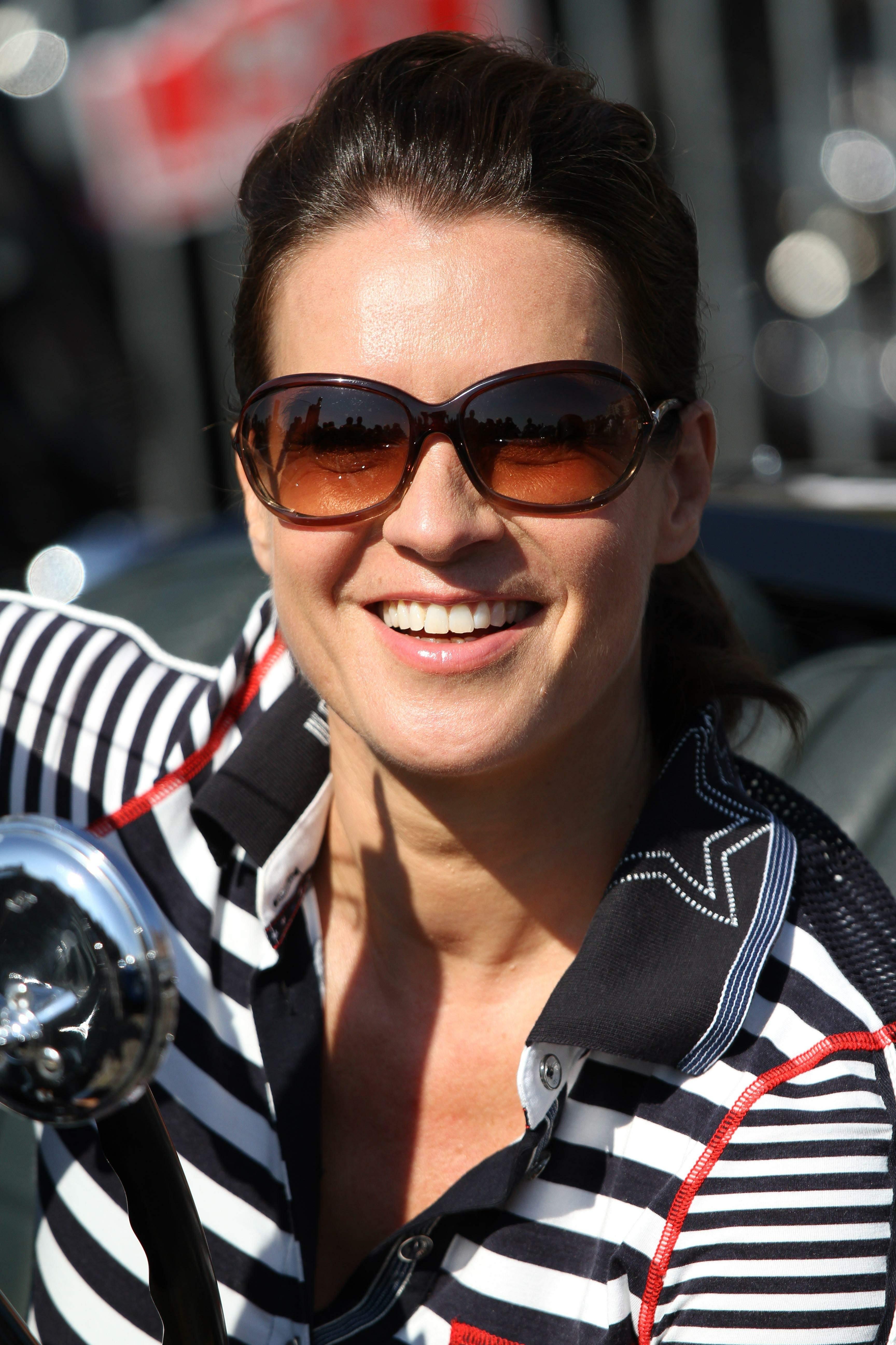 Katarina Witt at the oldtimer car rally Hamburg-Berlin-Klassik August 30, 2014
