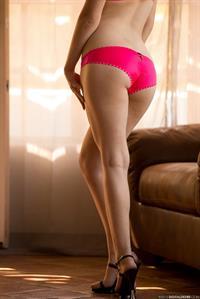 Alaina Fox strips off pink lingerie