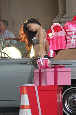 Adriana Lima on the set of a VS lingerie commercial in Los Angeles. August 8, 2014