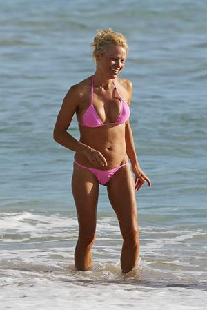 Pamela Anderson Wearing bikini on the beach in Hawaii - August 8, 2013