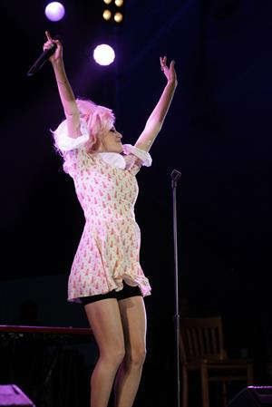 Pixie Lott performs on stage in Londonderry, Northern Ireland, Thursday, June 21, 2012.