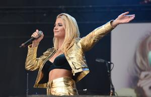 Pixie Lott performing on Day 1 of the V Festival at Hylands Park on August 16, 2014