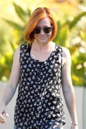 Alyson Hannigan outside her house on August 7, 2014