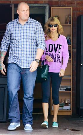 Taylor Swift in a Love Pink shirt in Los Angeles on 10/24/13