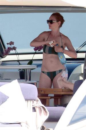 Uma Thurman on a yacht in St Trope July 6, 2013