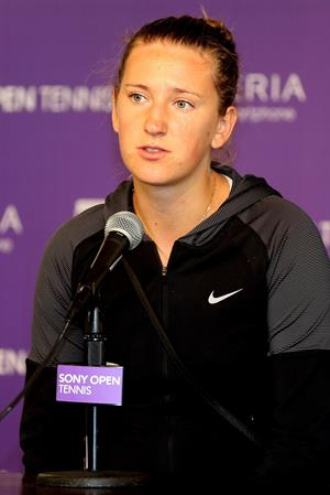 Victoria Azarenka at Press Conference during Sony Open at Crandon Park Tennis Center in Key Biscayne March 22, 2013